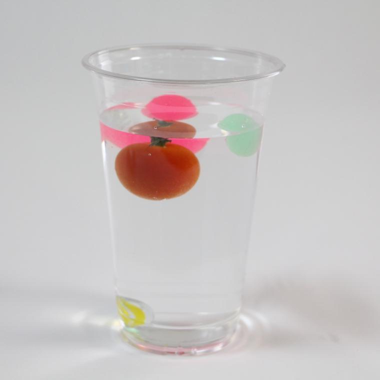 塩水を入れると浮かぶ物体